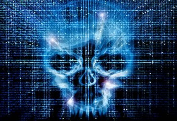 A skull coming out of a binary digital code