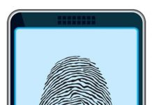 A fingerprint on a mobile phone