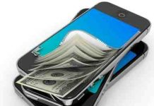 A mobile phone with cash coming out of it