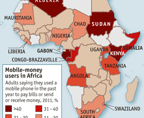 A map of Africa showing Mobile Money deplyments