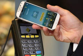 A Samsung Galaxy S$ making a contactless payment at POS