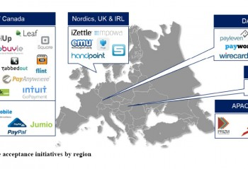 A map showing Mobile acceptance initiatives by region