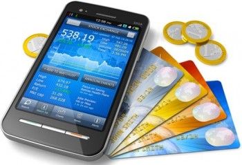 An image of a phone as a mobile wallet with cards and coins