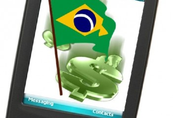 A mobile phone with a dollar sign and Brazilian flag