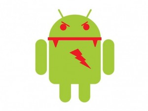 The Google Android logo with malware additions