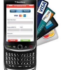 A Blackberry with credit cards coming out of it