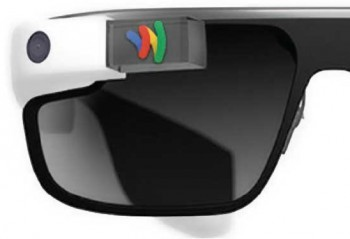 A pair of glasses with google glass and google wallet