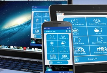 A laptop, mobile phone and tablet with mobile banking apps