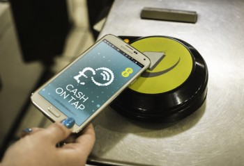 A Cash on Tap phone at an Oyster reader