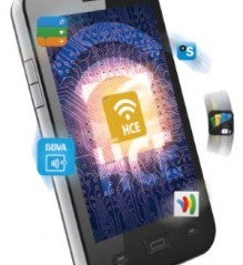 A mobile phone with HCE applications coming out of it