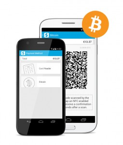 An image of an mPOS accepting Bitcoin