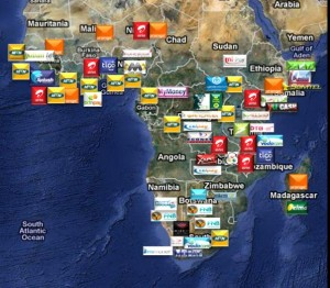 A picture of Africa showing Revenues from mobile money transfers to reach $4bn by 2018